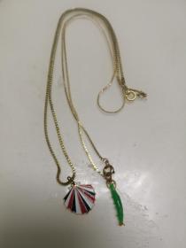 80年代镀金挂坠项链2个合售60(华为标志)