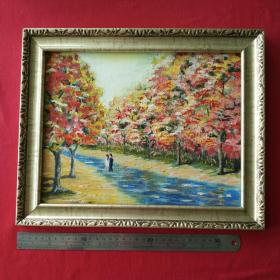 手绘油画抽象画雨后漫步风景画山水画装饰装修新居入伙挂画送框包邮