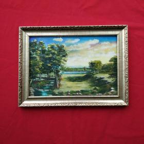 手绘油画树林和小溪风景画山水画装饰装修新居入伙挂画送画框包邮