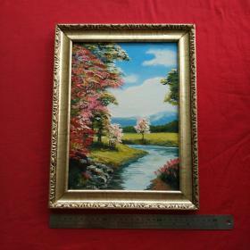手绘油画树林和小溪风景画山水画家居房间餐厅装饰装修新居入伙挂画送画框包邮