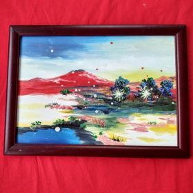 手绘油画抽象画火焰山家居房间餐厅装饰装修新居入伙挂画送画框包邮