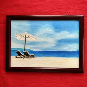 手绘油画海滩风景画山水画家居房间餐厅装饰装修新居入伙挂画送画框包邮
