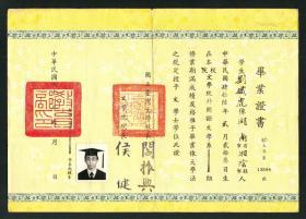 阎振兴签发《国立台湾大学毕业证书》1979年,贴老照片,罕见