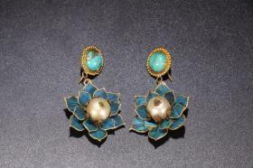 清代纯银鎏金点翠珍珠耳环一对