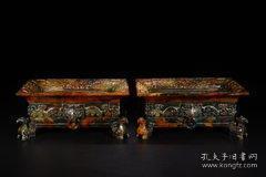 旧藏:高古玉兽纹方尊(一对)