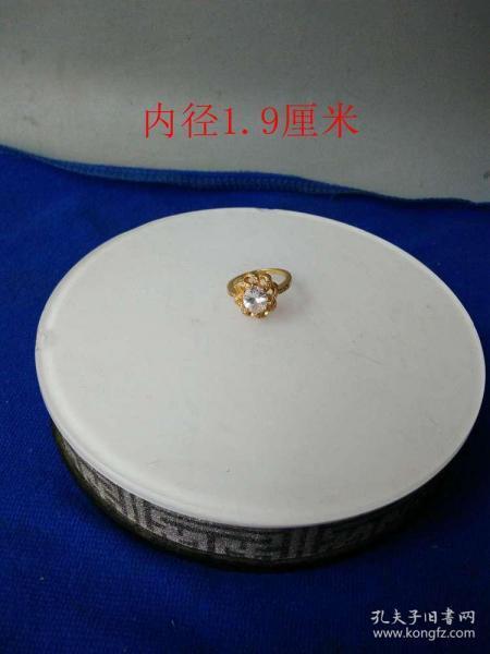 少见白钻白宝石k金戒指