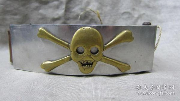 手工雕刻精美铜骷髅头图案不锈钢腰带扣带卡子