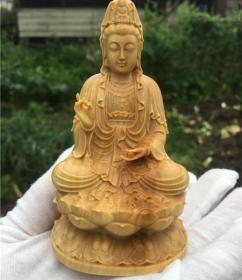 小叶黄杨木雕坐莲净瓶观音菩萨佛像坐莲如来摆件