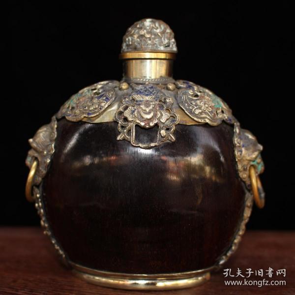 景泰蓝掐丝镶嵌牛角鼻烟壶
