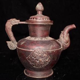 纯铜实心红铜酒壶