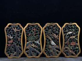 镂空木胎漆器梅兰竹菊挂屏一套