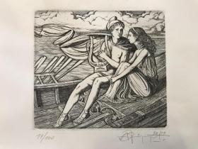 俄罗斯-费德罗夫版画藏书票原作《帕丽斯与海伦》