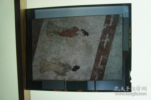 大尺寸珍贵文物唐墓壁画《提罐宫女图》反转片一张
