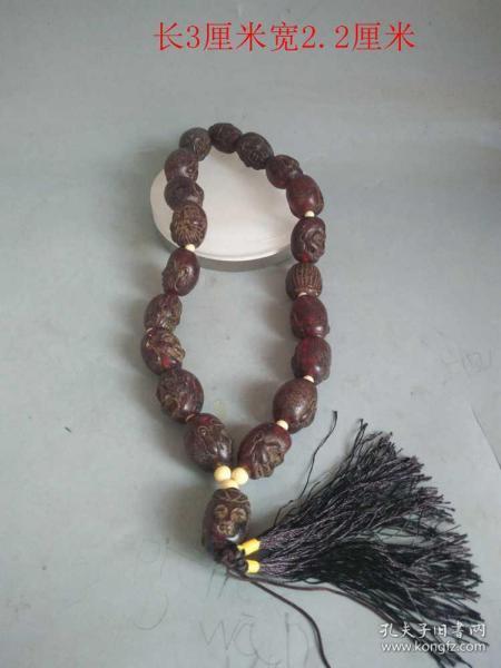 清代天然琥珀雕18罗汉佛珠链