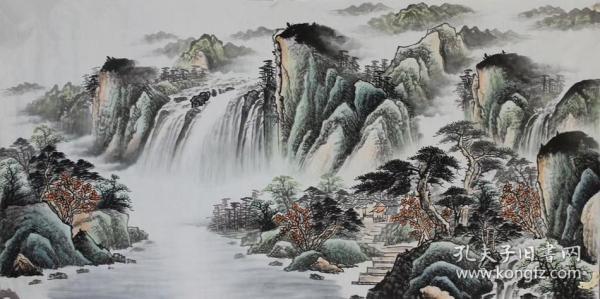 蒋文杰四尺水墨画,画心136+68厘米