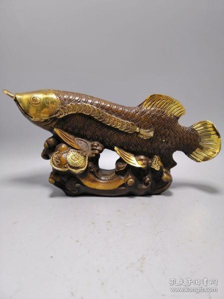 古玩铜器收藏,鎏金金龙鱼,居家办公必备