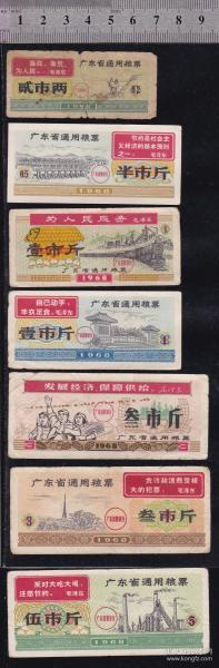 广东68年语录粮票一组7枚
