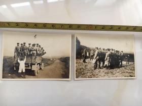民国抗战时期原版老照片2张:列队、卡车上的日本鬼子