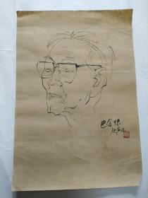 李延声速写巴金肖像
