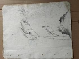 民国不知名画家的花鸟画5大张一起