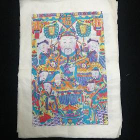 90年代杨家埠木板年画•宣纸手拓 十二张合售•尺寸:31x41.5厘米!