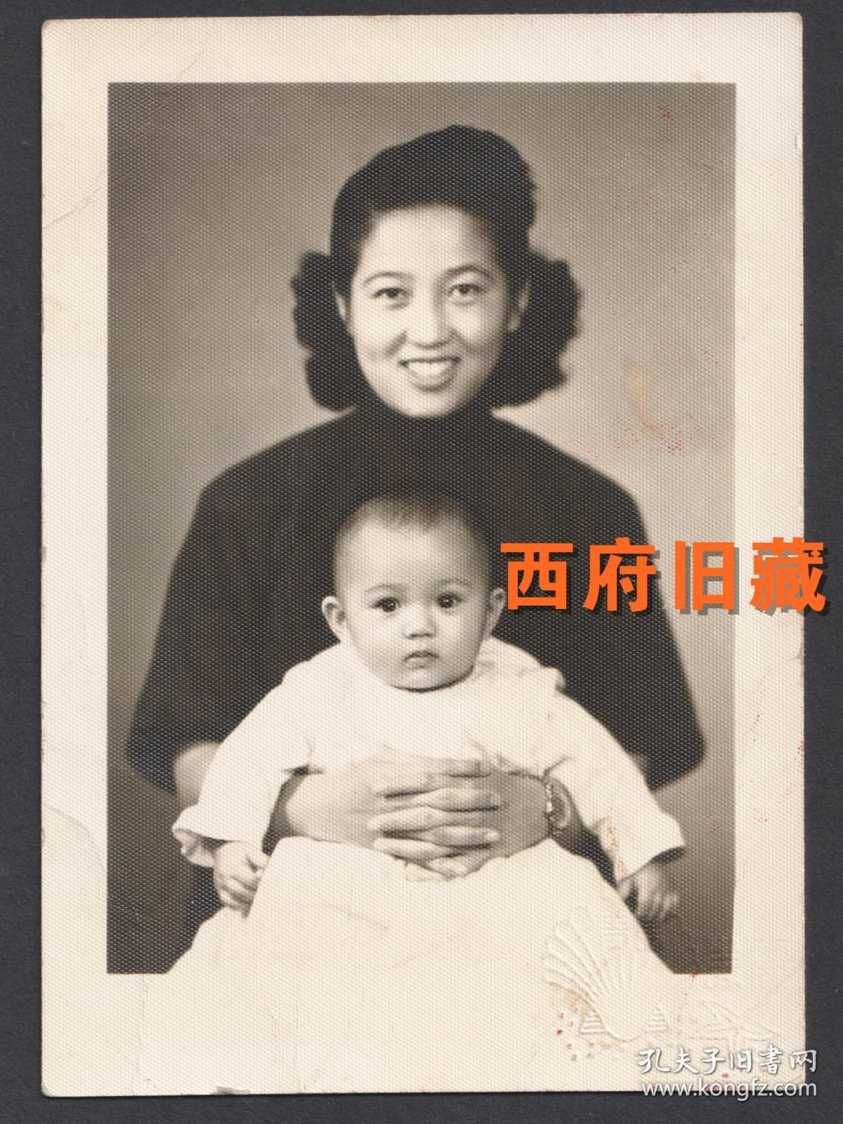 民国老照片,1948年母子合影照
