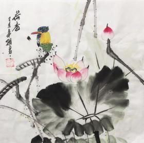 【超值特价】【保真】【吴雅君】中央美院毕业、北京画院名家工作室画家、江苏省美协会员、江苏书画艺术研究中心副主任、小品花鸟画(33*33CM)29。