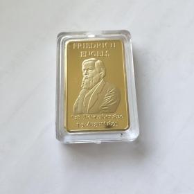 恩格斯纪念章  铜镀金  5ⅹ3.5厘米
