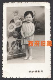 """1972年,文革特色的""""朵朵葵花""""背景下的小女孩留念老照片"""