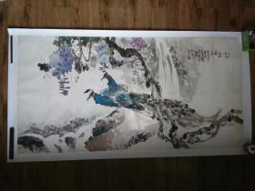 墨兵(号百寿山人,天津美院教授,孙其峰弟子)国画精品一件,孔雀紫藤,品见描述,包快递送货。