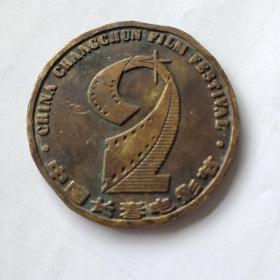 早期章 中国长春电影节纪念铜章 米老鼠图案 直径5厘米 自然老旧包浆