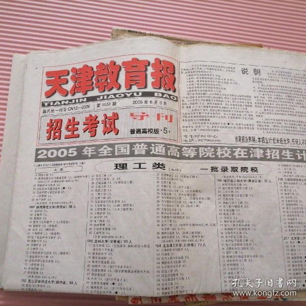 天津教育报 招生考试导刊 2005年6月6日(4版)