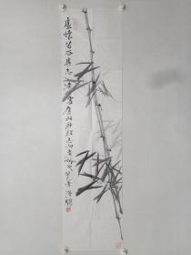 保真书画,北京名画家,温骧《虚怀若谷》国画佳作一幅,尺寸137×34.5cm。