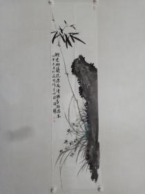 保真书画,北京名画家,温骧《雅君与兰花为友》国画佳作一幅,尺寸137×35cm。
