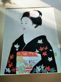 4开木版画 寺岛紫明 舞伎图2 安达版画院制作 金银箔使用 日本现代岩彩画大师