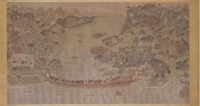 【复印件】仿真图卷:黄河兰州浮桥图,工笔彩绘,纵:42厘米,横:78.13厘米。