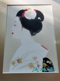 4开版画 寺岛紫明《艺伎图》3 安达院木版水印 日本现代美人画大师