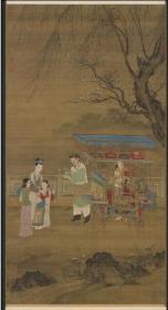 【复印件】仿真图轴:春景货郎图轴,元人绘,纵:60.6厘米,横:33.09厘米