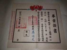 1953年天津市工业学校毕业证书,