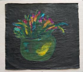 青年书画家胡子绘画作品: 《盆花》彩墨灵动,典雅自然;低价惠友,物美价廉。
