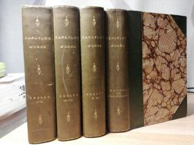 1895年  CRITICAL AND MISCELLANEOUS ESSAYS BY THOMAS CARLYLE  7卷4本合订  半皮装帧 三面书口花纹  好品 17X12CM