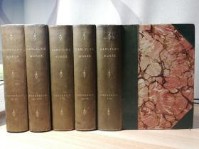 1894年左右 HISTORY OF FRIEDRICH II. OF PRUSSIABY THOMAS CARLYLE  10卷5本合订 腓特烈大帝传  半皮装帧  三书口花纹   带地图  17X12CM