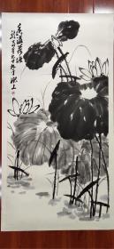 【萧龙士】精品荷花一幅,四尺大中堂,68厘米//136厘米,托底,喜欢的私聊