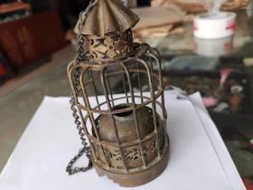 工艺漂亮清代铜灯笼,大烟灯