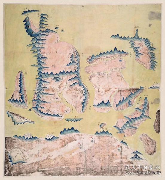 古地图1822 象山县境舆图 清道光2年前。纸本大小64.3*69.81厘米。宣纸艺术微喷复制。