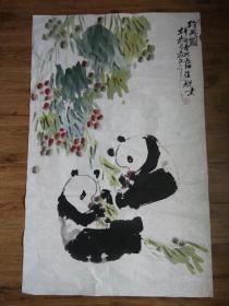 """上海书画名家徐耀国画""""国宝大熊猫"""",八平尺,包真包快递发货。"""