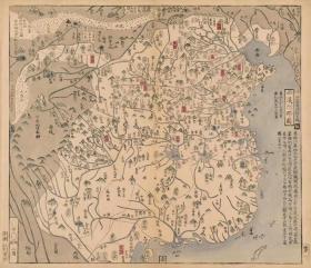 0358-10古地图1789 唐土历代州郡沿革图册 西汉州郡图。纸本大小50.74*58.81厘米。宣纸艺术微喷复制