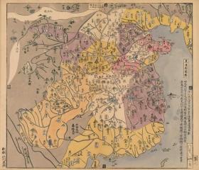 0358-4古地图1789 唐土历代州郡沿革图册 东汉郡国图。纸本大小50.33*58.53厘米。宣纸艺术微喷复制。