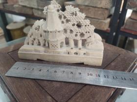 老青田石雕屏风山子2 长12+8+5cm,价400