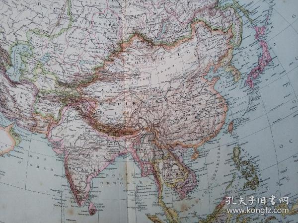 大清1884年中法战争期间法军将领研究大清及亚洲地图,本地图出自法国欧克索纳市的二级军官第十集团军团图书馆。